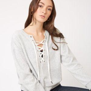 BBDakota Tie It Together Velour Lace Up Sweatshirt